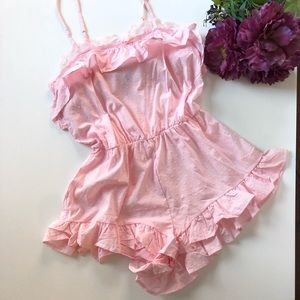 Victoria's Secret Short Ruffle Lace Romper PJ